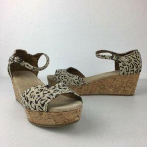 Toms Burlap Peep Toe Leopard Wedge Heels
